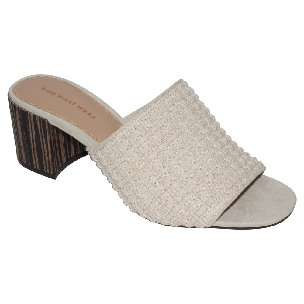 Womens Felicity Macrame Strap Block Heel Slide Sandals Who What Wear - Cream (Ivory) 9