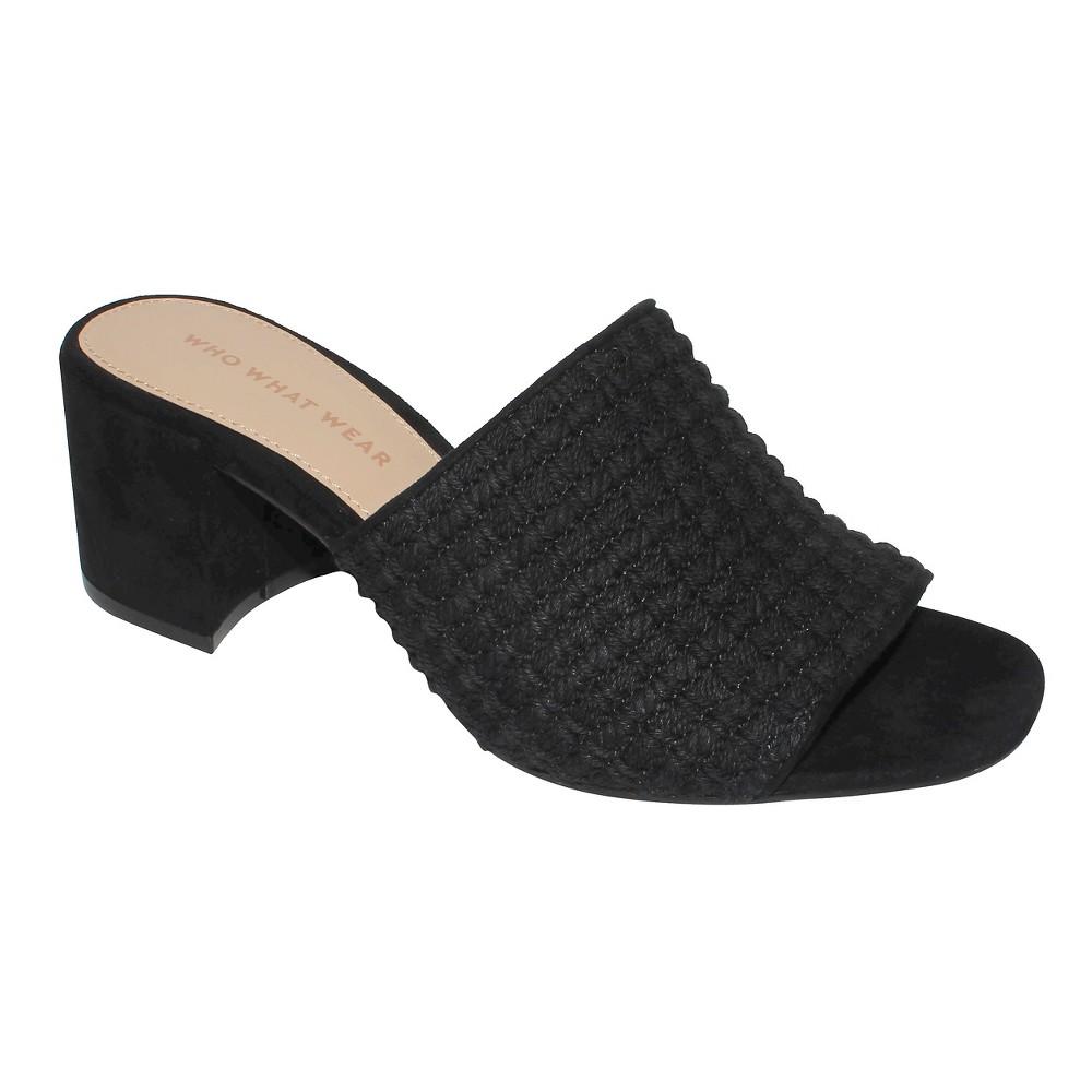 Womens Felicity Macrame Strap Block Heel Slide Sandals Who What Wear - Black 9.5