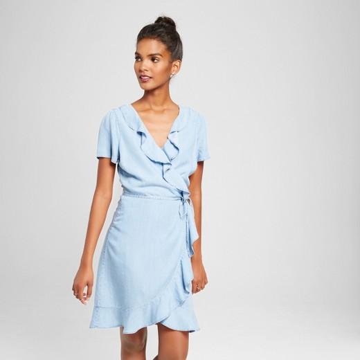 Women's Chambray Ruffle Wrap Dress Light Blue XS - 3Hearts ...
