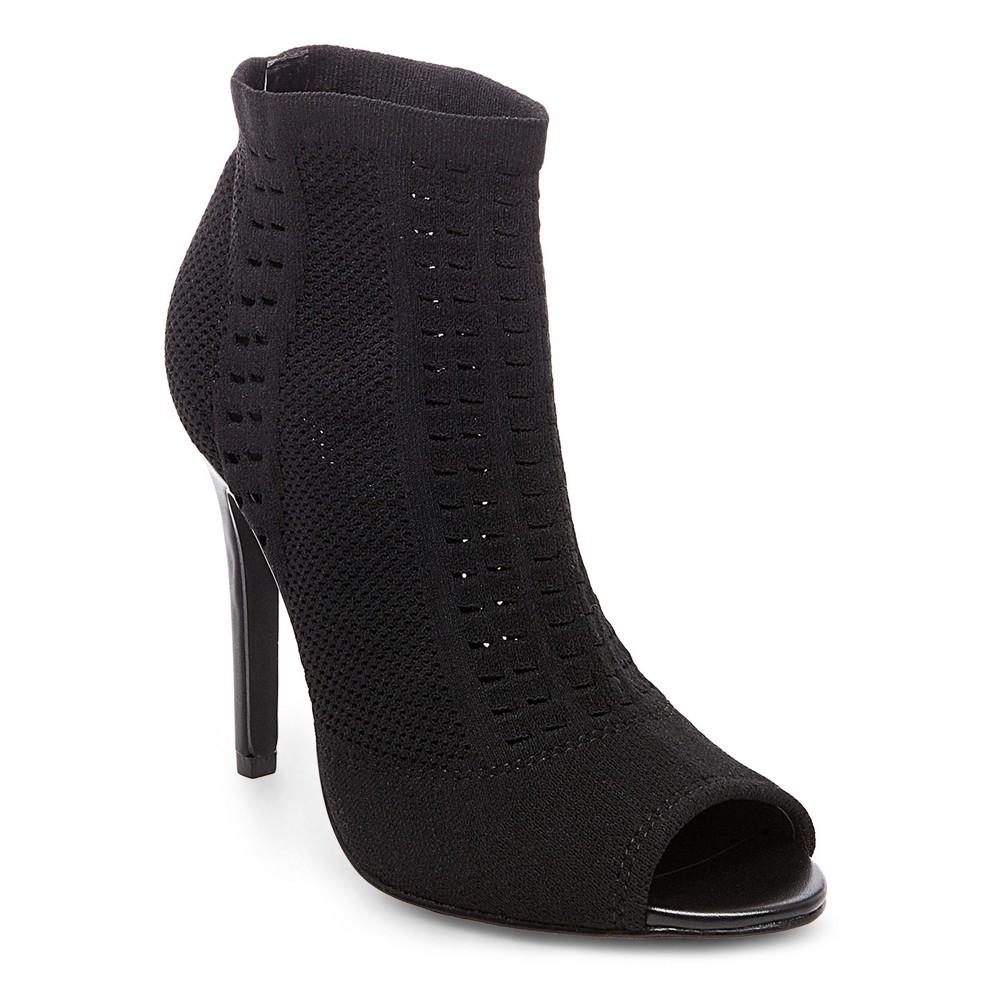 Womens Wild Pair Drama Knit Peep Toe Sock Booties - Black 7.5
