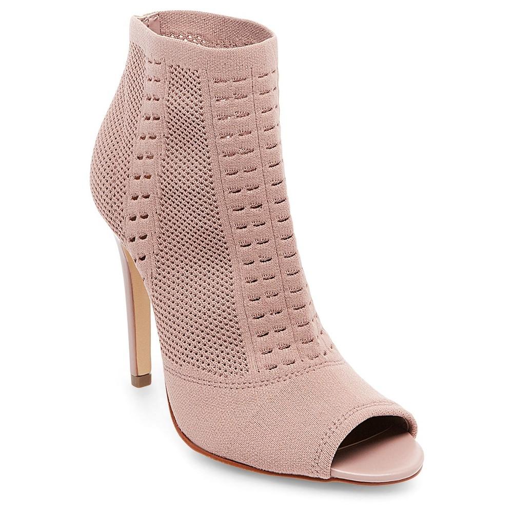 Womens Wild Pair Drama Knit Peep Toe Sock Booties - Mauve (Pink) 8