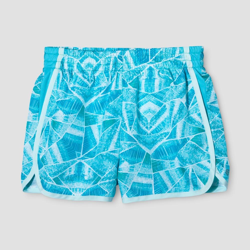 Girls Printed Run Shorts - C9 Champion Crystal Mint S, Green