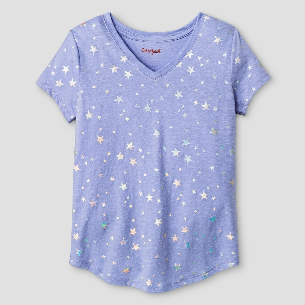 Girls Short Sleeve V-Neck Star Print T-Shirt - Cat & Jack Purple L
