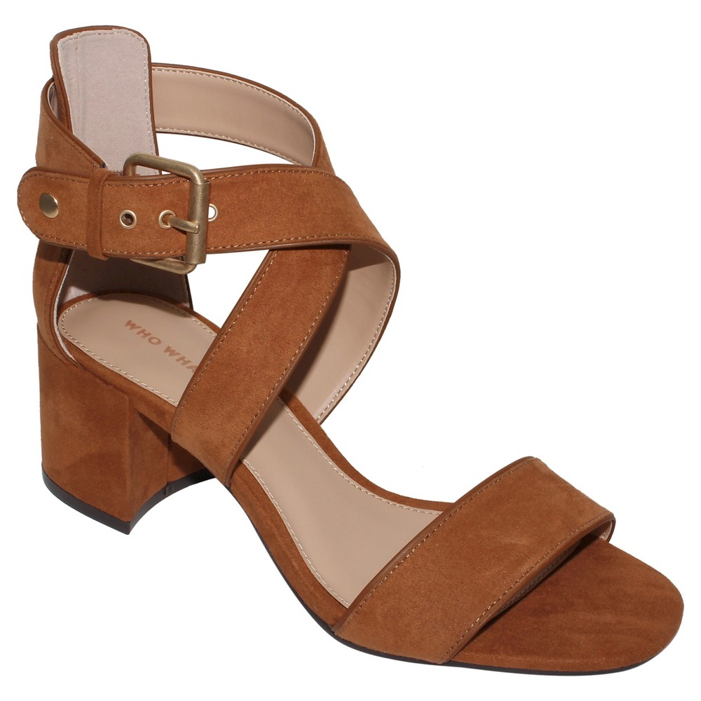 Womens Ashlyn Block Heel Quarter Strap Sandals Who What Wear - Cognac (Red) 7
