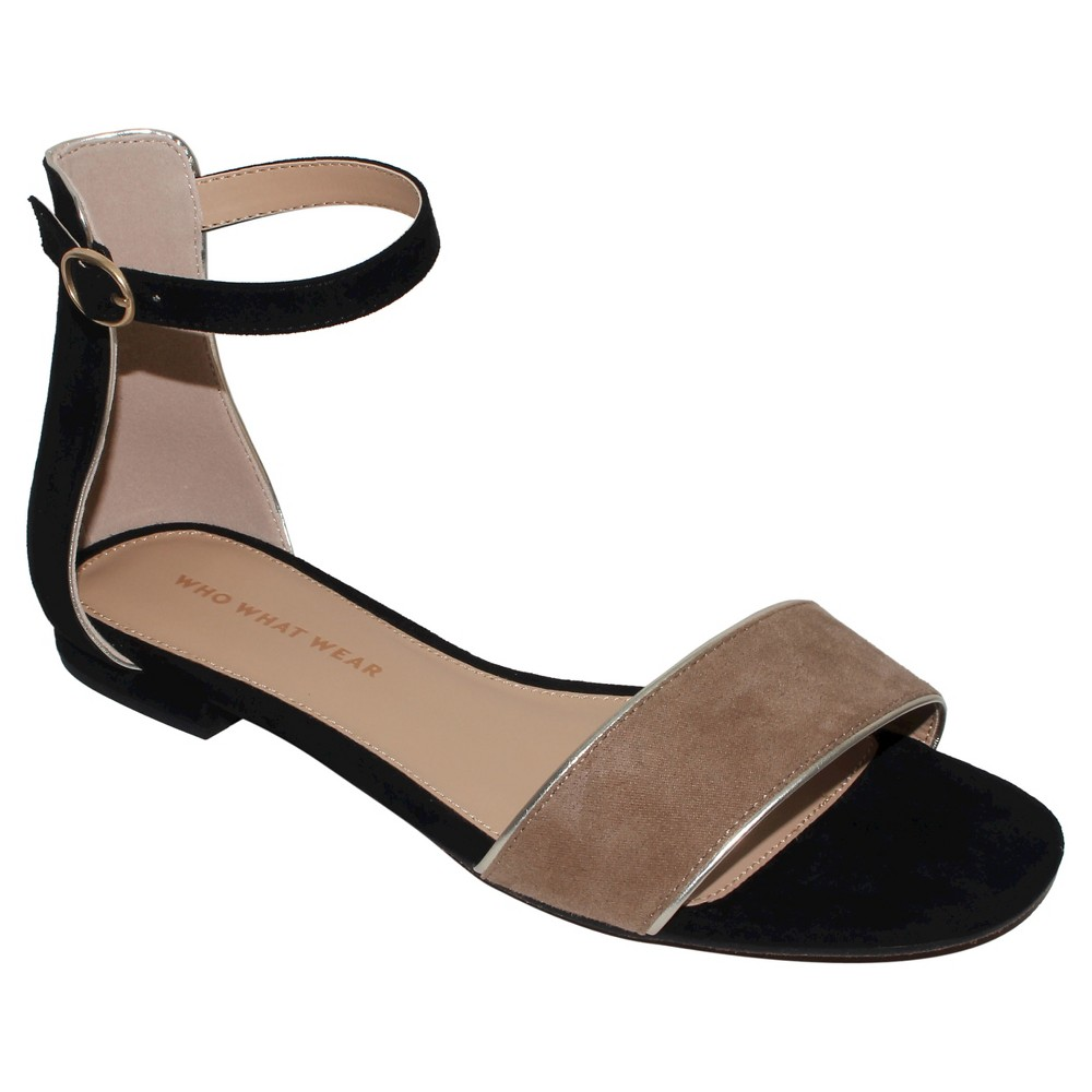 Womens Brooklyn Ankle Strap Flat Quarter Strap Sandals Who What Wear - Black 7