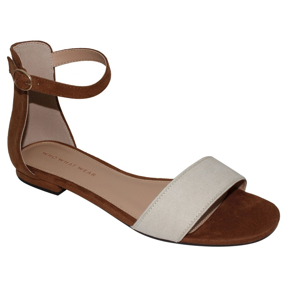 Womens Brooklyn Ankle Strap Flat Quarter Strap Sandals Who What Wear - Cognac (Red) 8