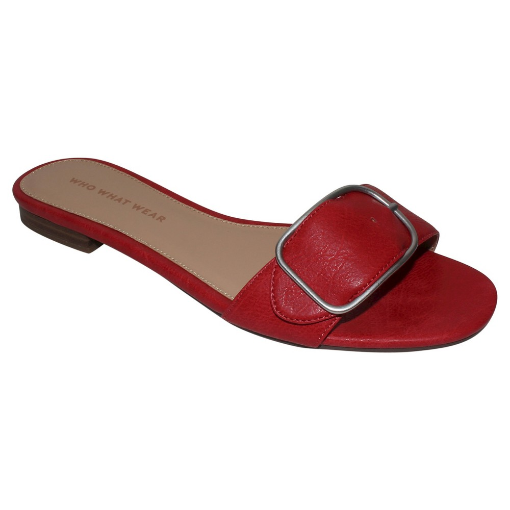 Womens Emma Buckle Slide Sandals Who What Wear - Red 6.5