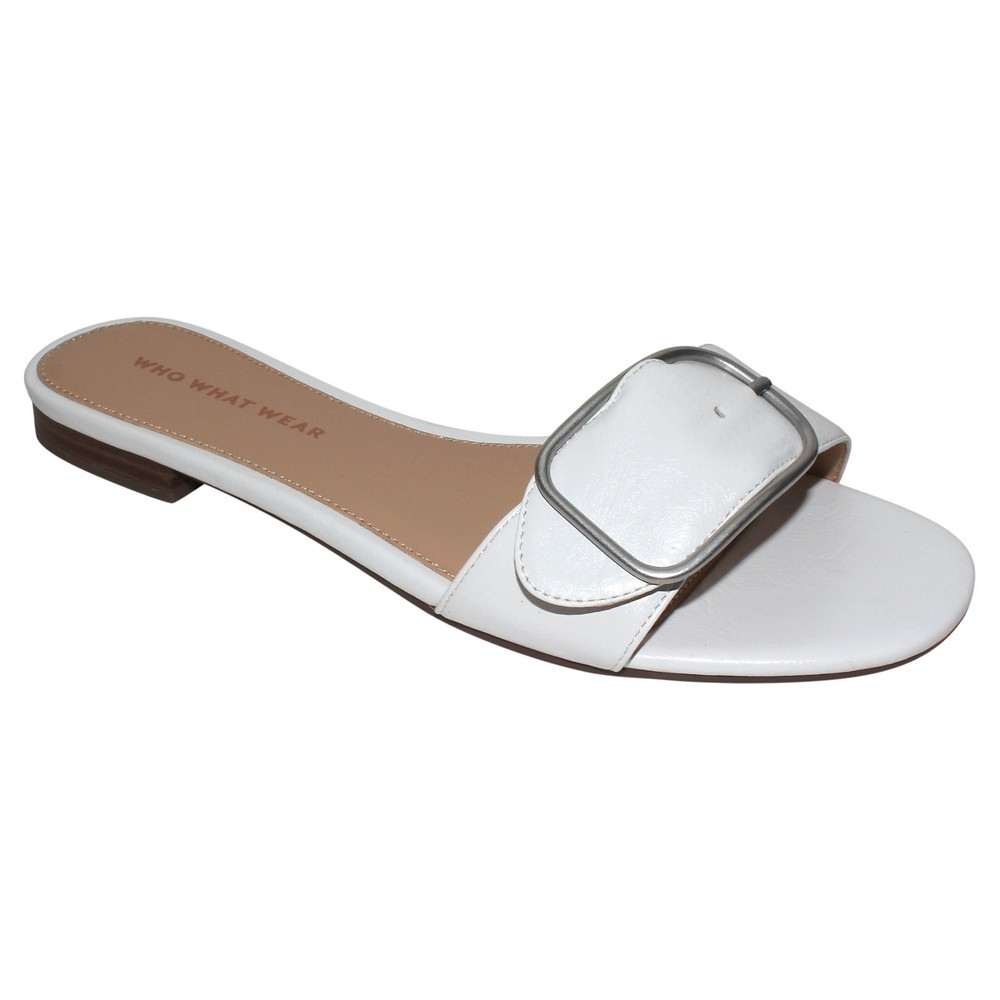 Womens Emma Buckle Slide Sandals Who What Wear - White 10