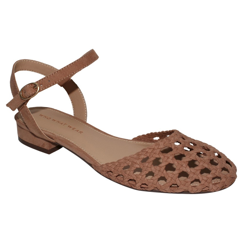 Womens Evelyn Macrame Ankle Strap Flat Quarter Strap Sandals Who What Wear - Tan 9.5
