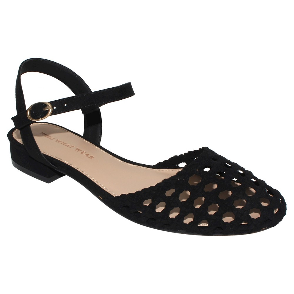 Womens Evelyn Macrame Ankle Strap Flat Quarter Strap Sandals Who What Wear - Black 6