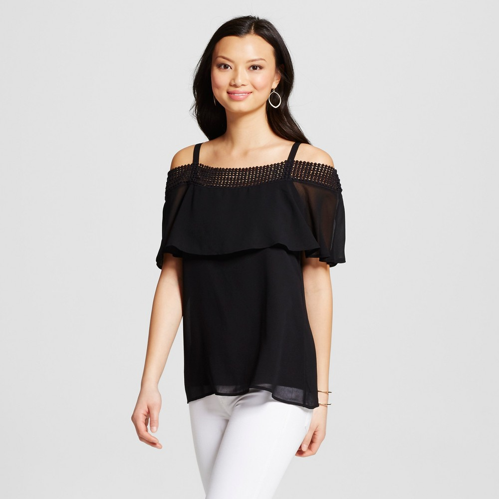 Women's Off the Shoulder Woven Popover with Crochet Trim – Black S – U-Knit
