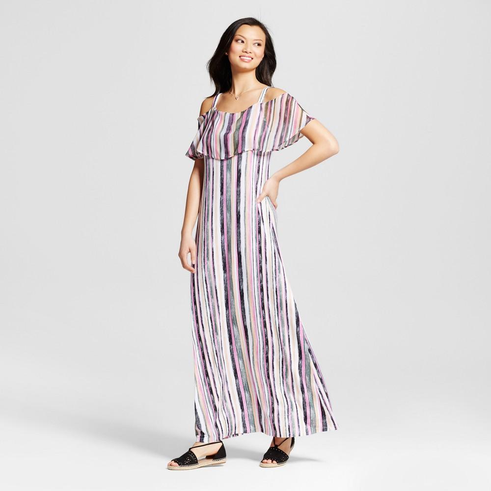 Women's Striped Woven Popover Maxi Dress – Multi (Olive Drab Combo) L – U-Knit, Multicolored