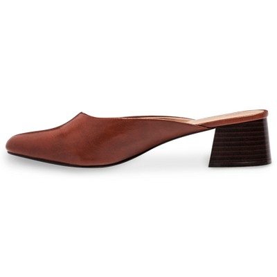 Women's Everly Block Heel Mules Who What Wear - Cognac (Red) 8.5