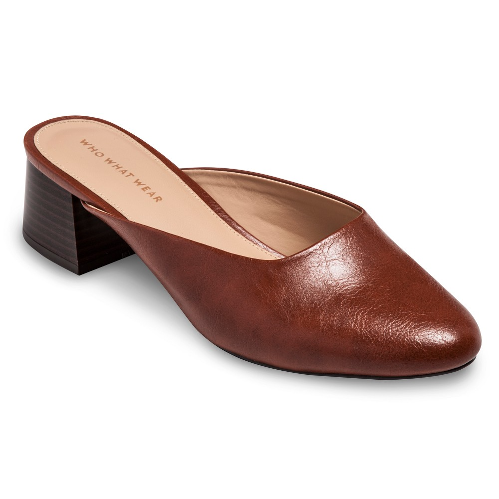 Women's Everly Block Heel Mules Who What Wear - Cognac (Red) 11