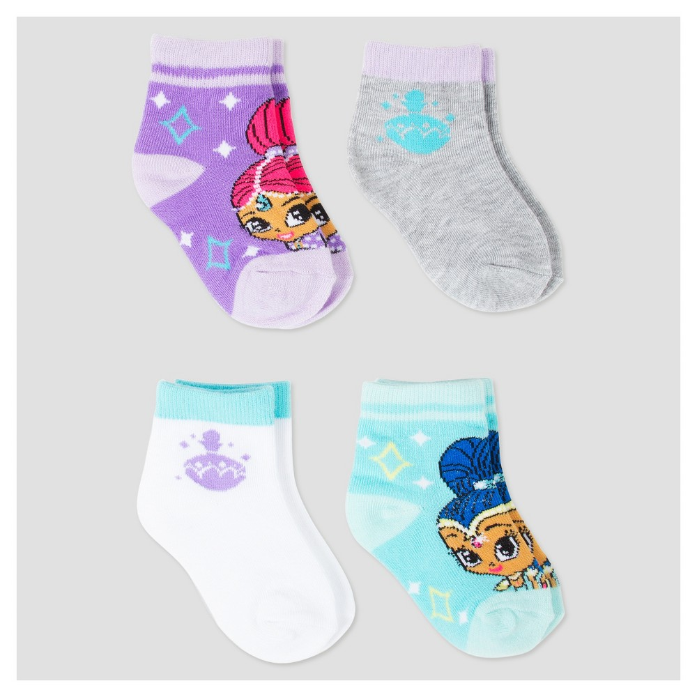 Baby Girls Shimmer and Shine Socks 4pk - Multicolor 12-24M, Multicolored