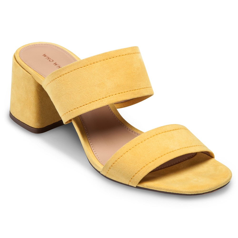 Women's Carolina Double Band Block Heel Slide Sandals Who What Wear - Yellow 10