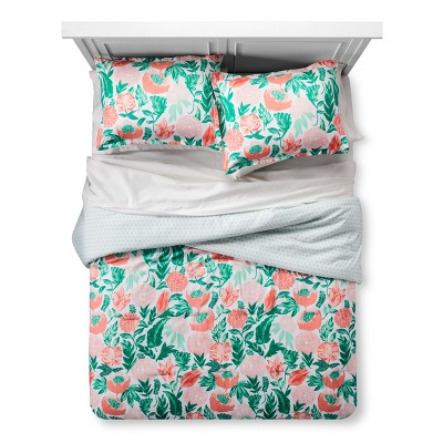 Coral & Emerald Painterly Floral Comforter Set (Twin/ Twin XL)- Xhilaration™