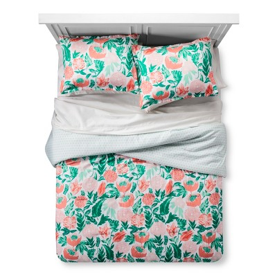 Coral & Emerald Painterly Floral Comforter Set (Full/Queen)- Xhilaration™
