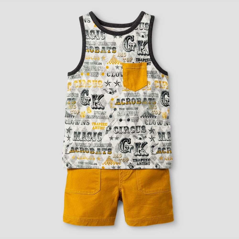Toddler Boys Tank Top Set Genuine Kids from OshKosh Heather Gray/Gold 12M, Size: 12 Months