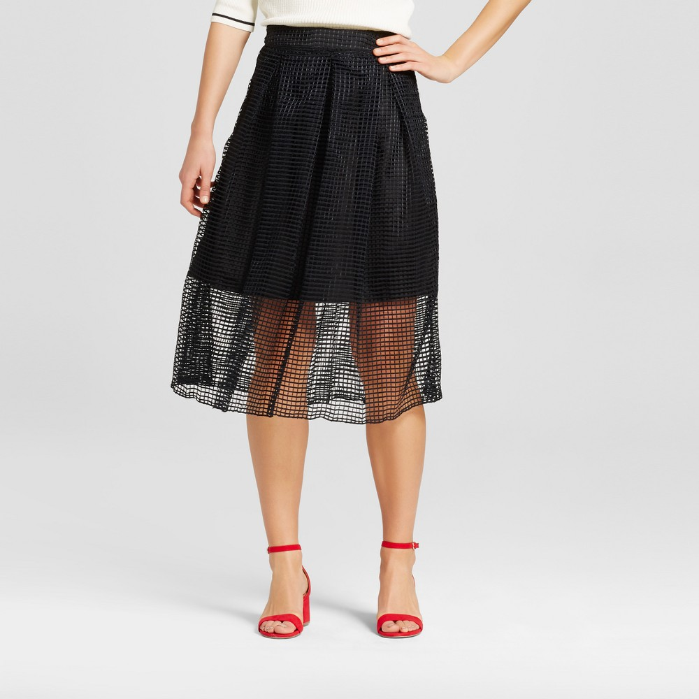 Women's Gingham Lace Birdcage Skirt – Who What Wear – Black 12