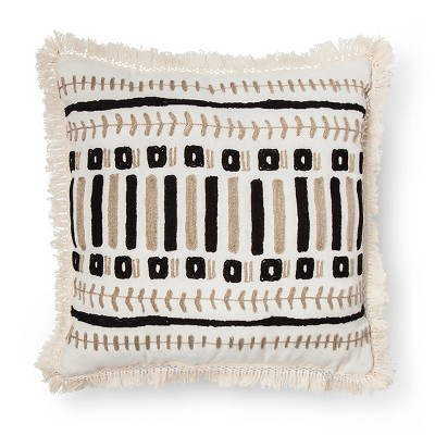 Black & Tan Embroidered Pillow - Xhilaration™