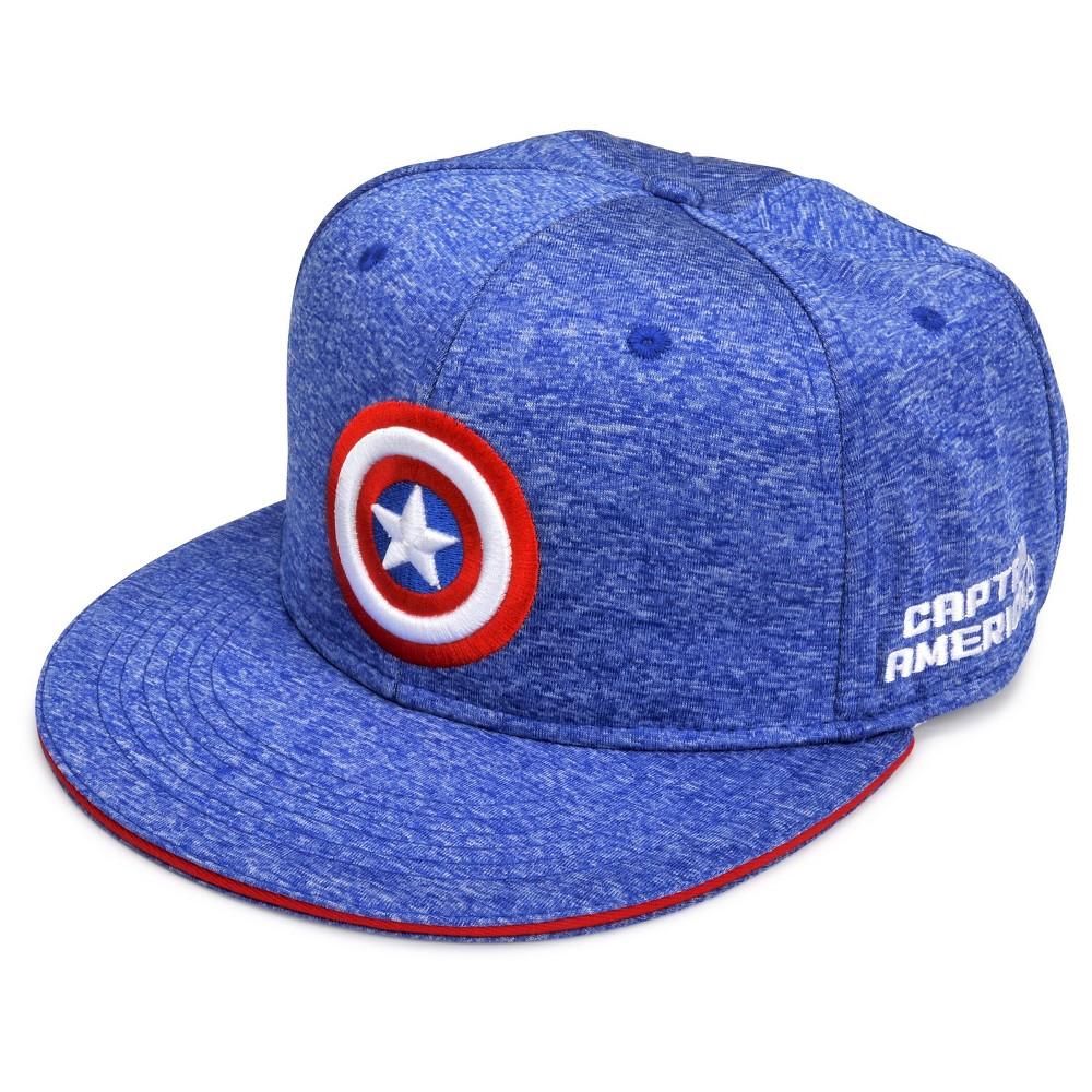 Marvel Captain America Mens Space Knit Flat Brim Hat - Blue One Size