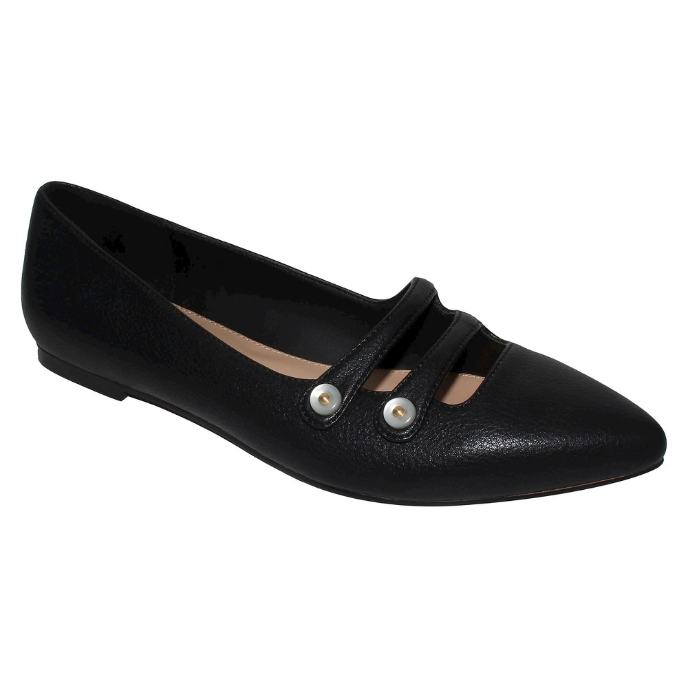 Womens Aria Pearl Button Ballet Flats Who What Wear - Black 6.5