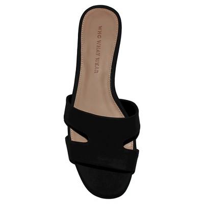 Women's Who What Wear Carlie Faux Suede Slide Sandals - Black 9