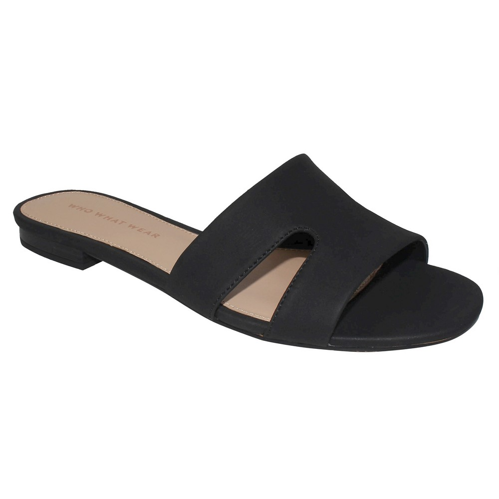 Womens Carlie Faux Suede Slide Sandals Who What Wear - Black 6