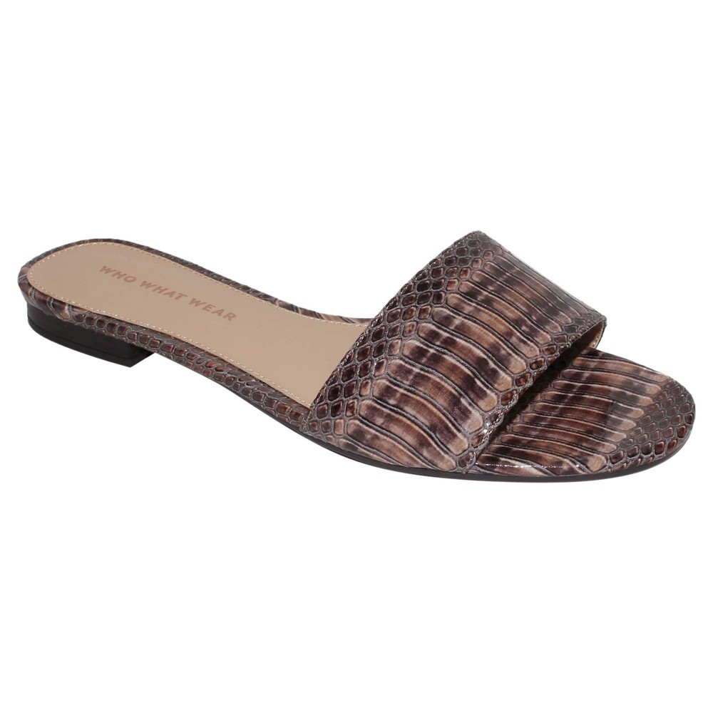 Womens Ava Exotic Print Slide Sandals Who What Wear - Natural 8.5