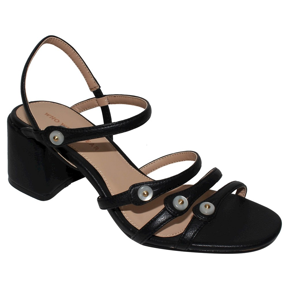 Womens Charlotte Strappy Quarter Strap Sandals Who What Wear - Black 7.5