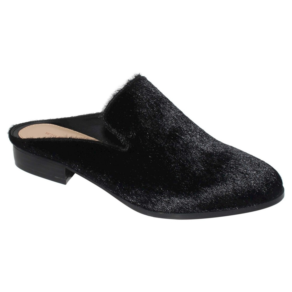 Womens Faith Faux Pony Hair Flat Mules Who What Wear - Black 7.5