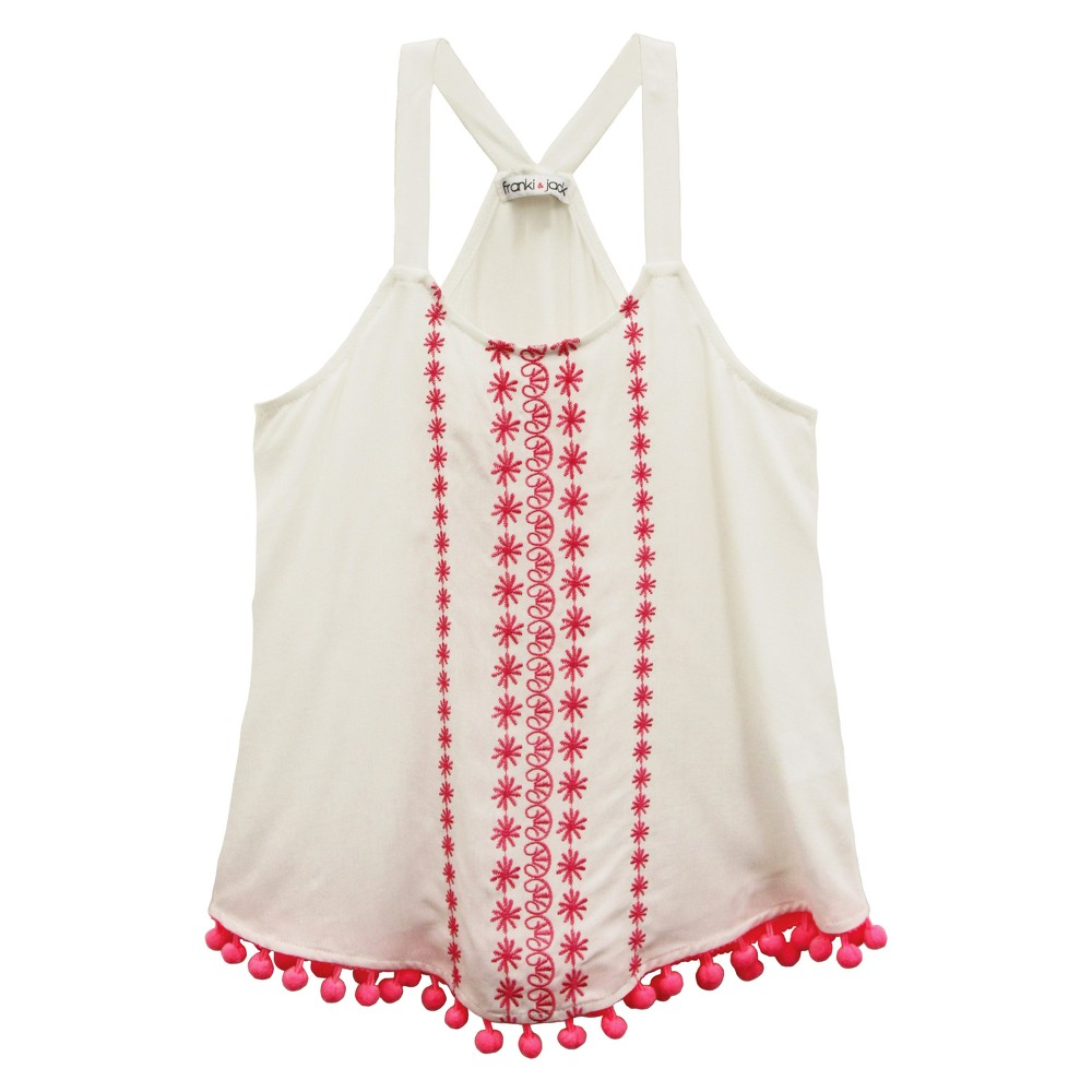 Girls Franki & Jack Embroidered Tank Top - Classic Ivory XL(14-16), White