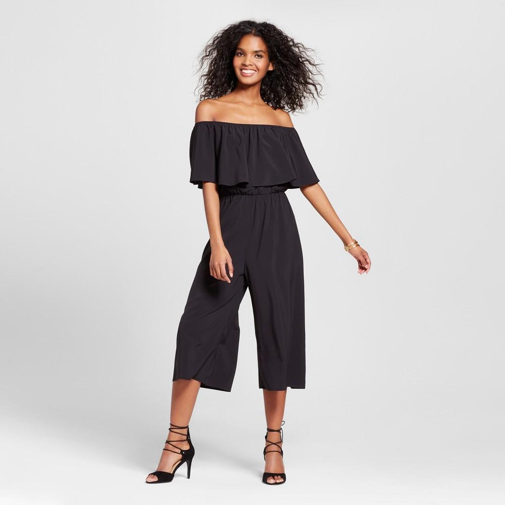 Womens Off the Shoulder Culotte Jumpsuit - Le Kate (Juniors) Black M