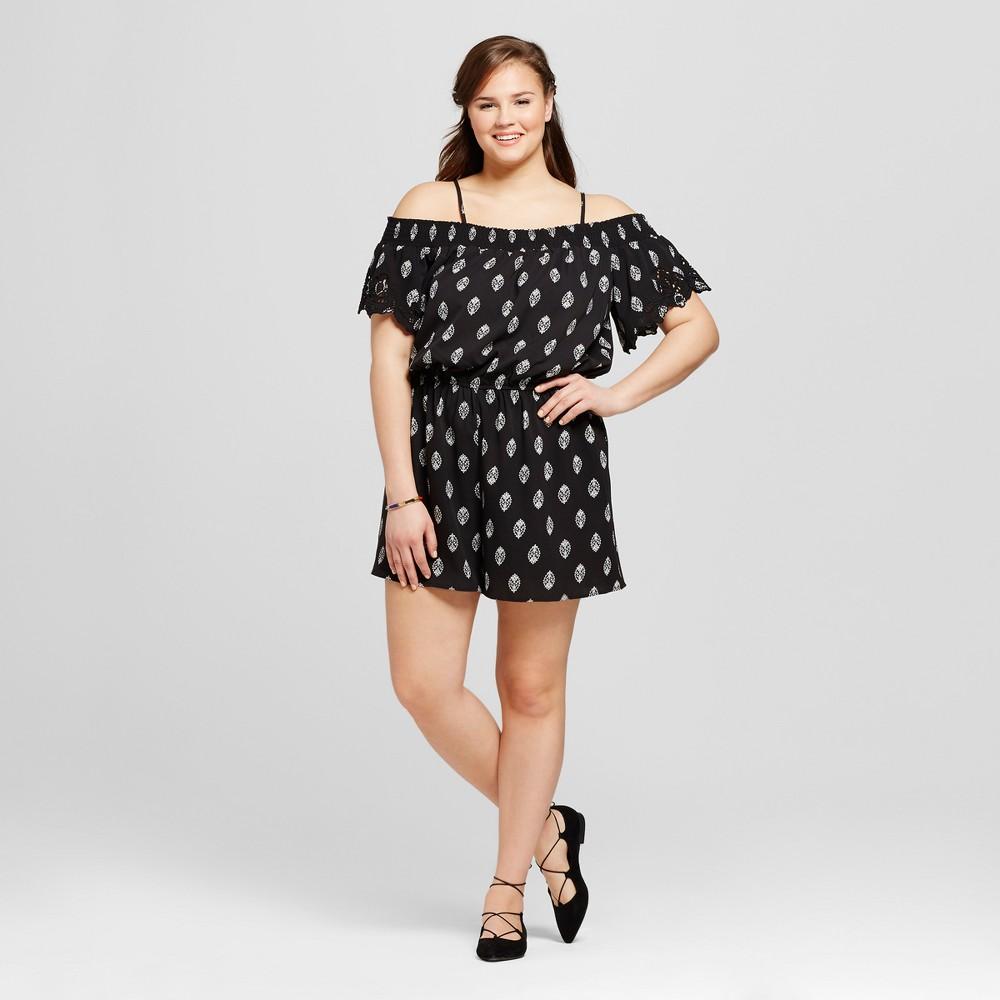 Women's Plus Size Embroidered Romper - Xhilaration Black Print 2X