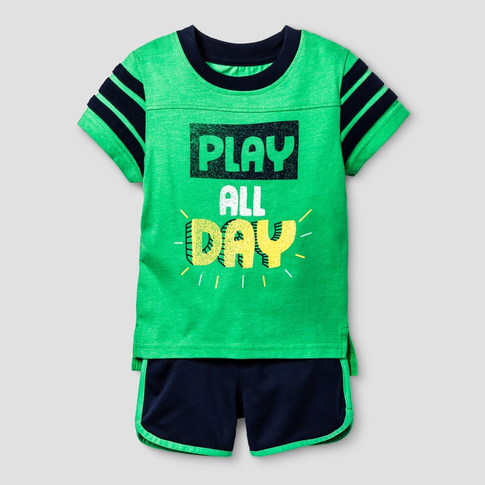 Toddler Boys Top and Bottom Set Cat & Jack - Island Green 18M, Size: 18 M
