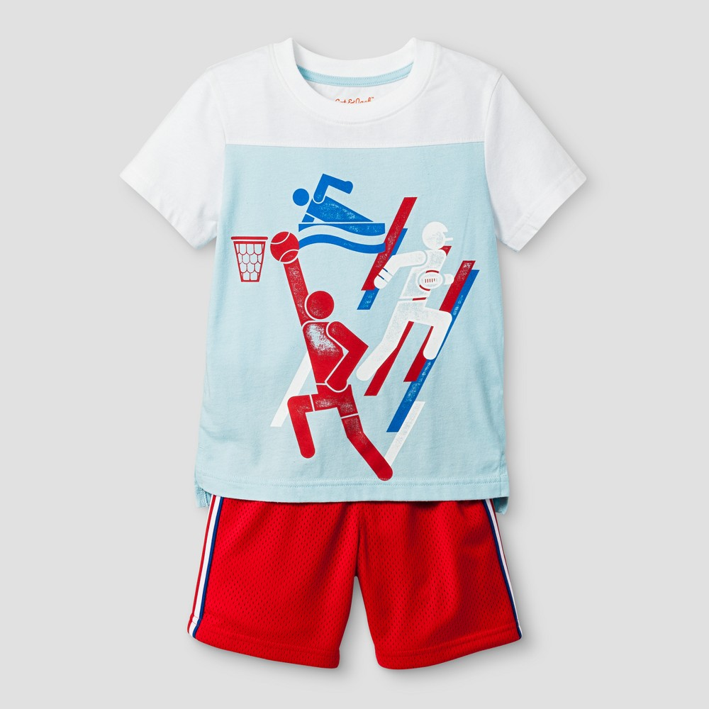 Toddler Boys Top and Bottom Set Cat & Jack - Turquoise Glass 2T, Blue