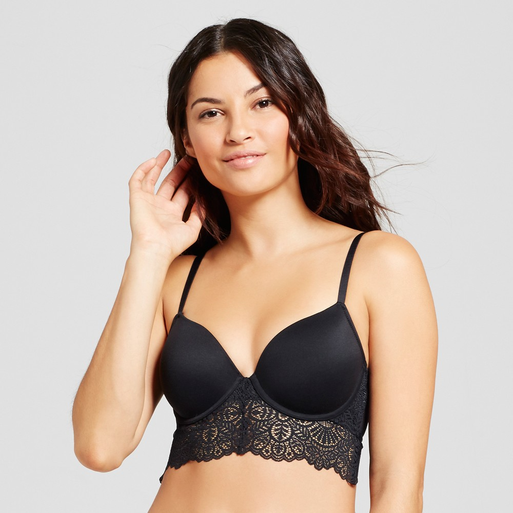 Womens Long Line Bra- Black 38D