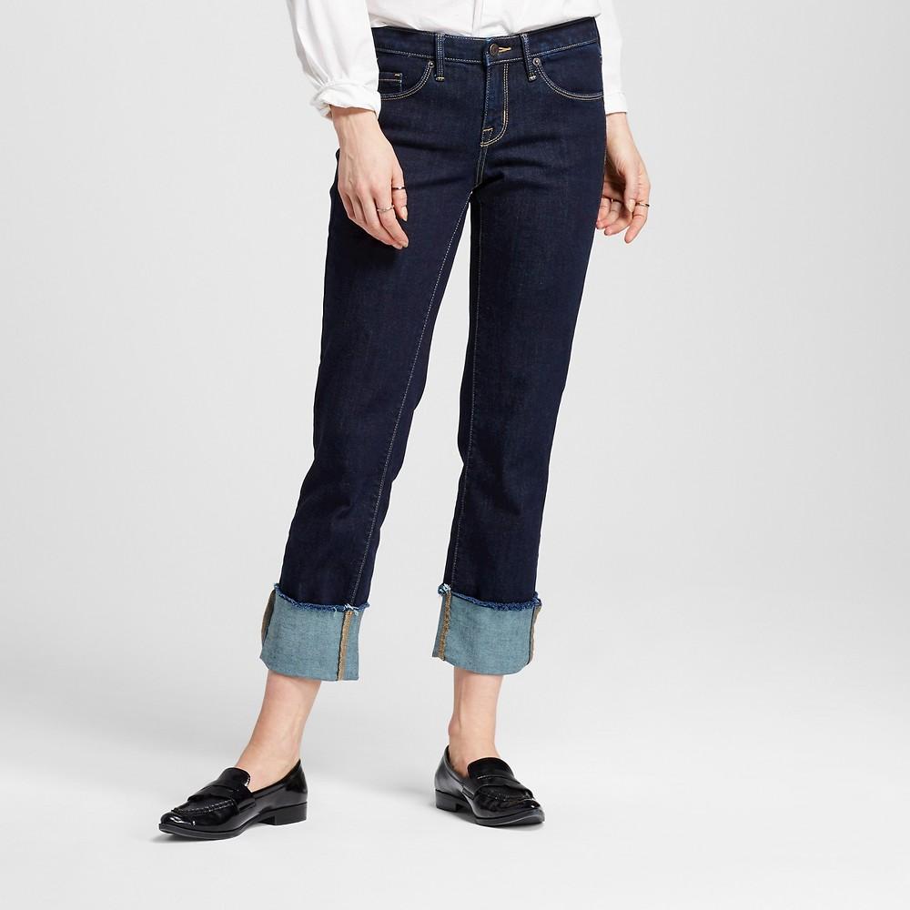 Women's High Rise Straight Crop Wide cuff - Mossimo Dark Blue 16