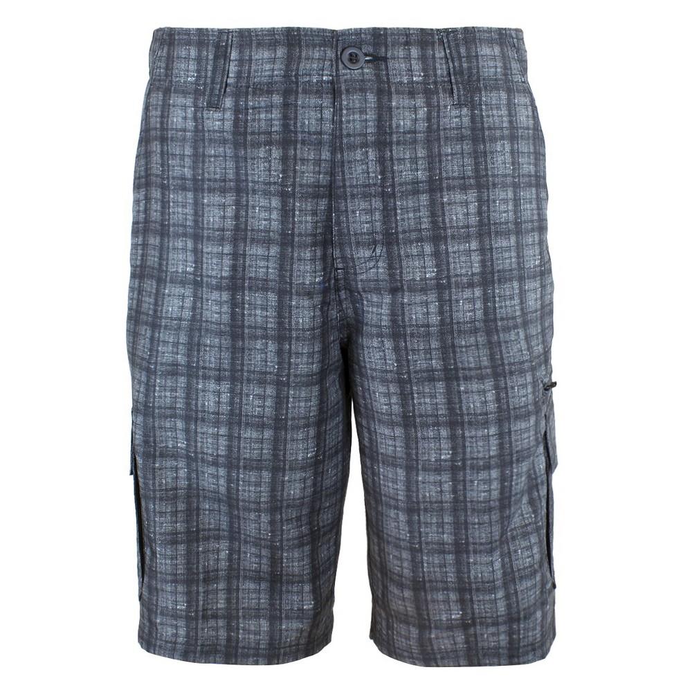 Mens Plaid Hybrid Cargo Shorts Black 34 - Burnside
