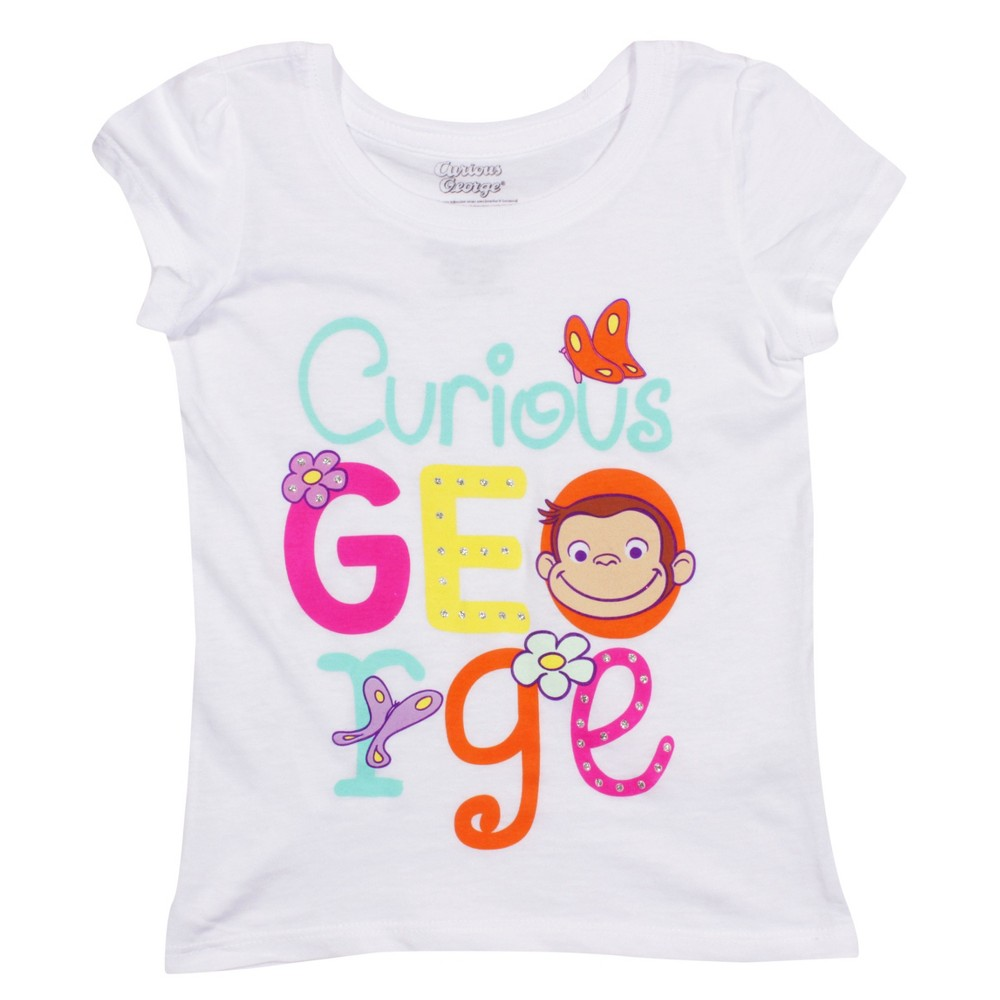 Toddler Girls Curious George Short Sleeve T-Shirt - White 5T