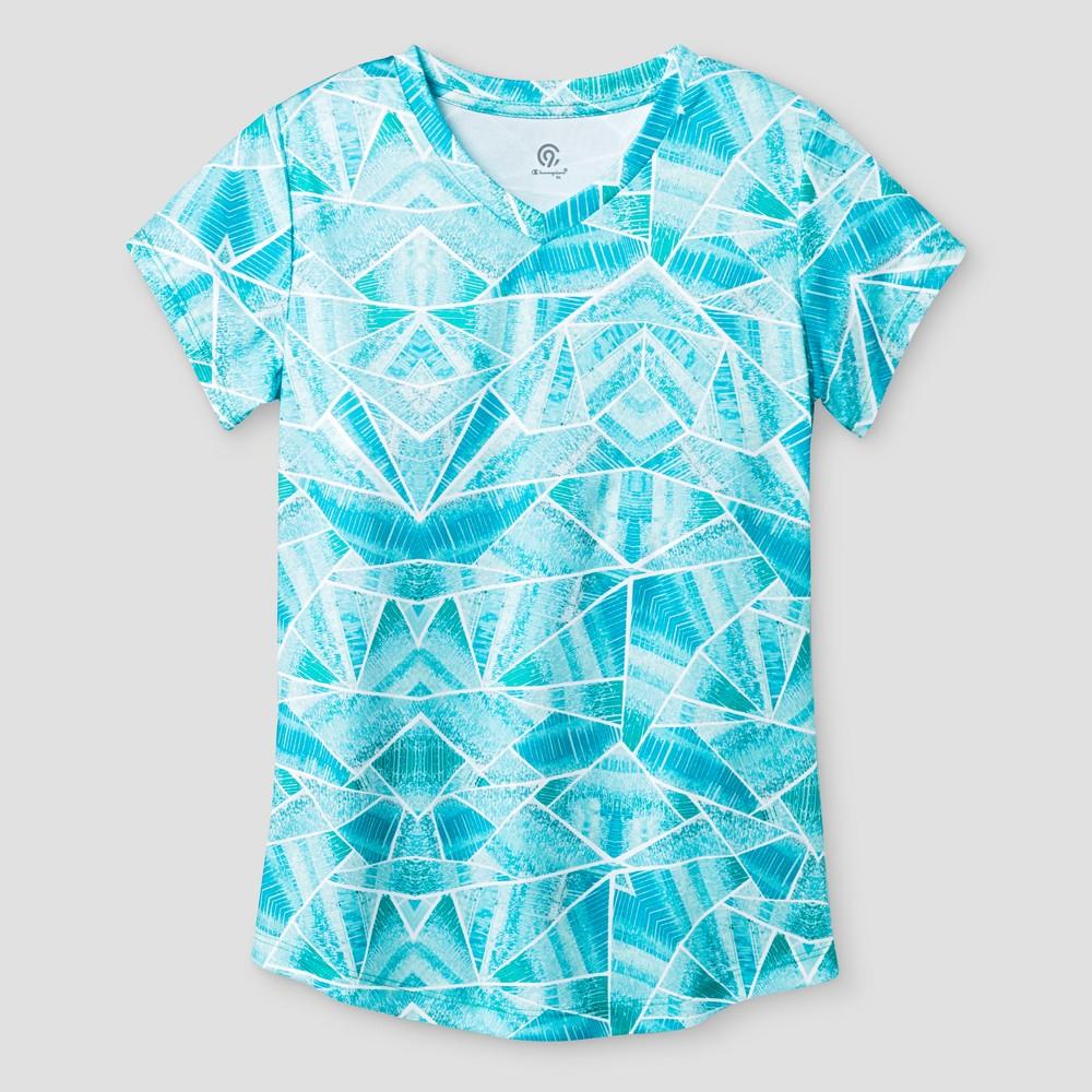 Girls Printed Tech T-Shirt - C9 Champion - Mint Print S, Blue