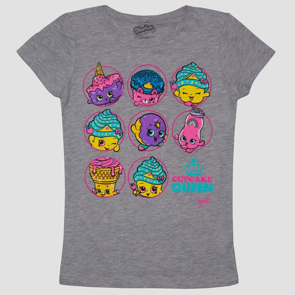 Girls Shopkins Cupcake Queen Short Sleeve T-Shirt - Gray L (10-12), Size: L(10-12)