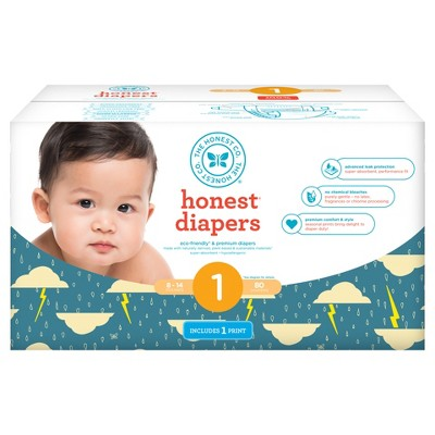 Honest Company Club Pack Diapers, Thunderclouds - Size 1 (80 ct)