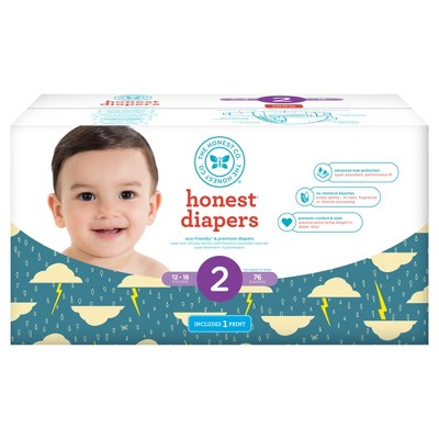Honest Company Club Pack Diapers, Thunderclouds - Size 2 (76 ct)