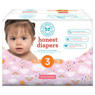 Honest Company Club Pack Diapers, Double Rainbow - Size 3 (68 ct)