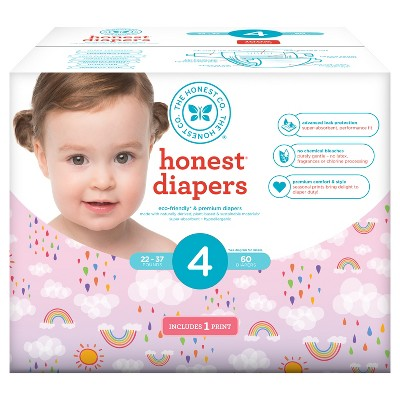 Honest Company Club Pack Diapers, Double Rainbow - Size 4 (60 ct)