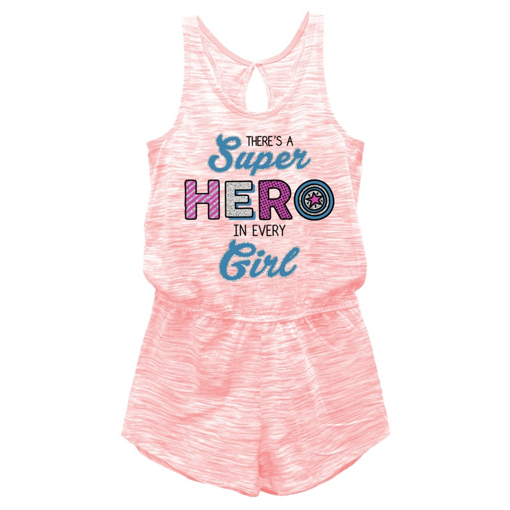 Girls Captain America Romper - Coral XS (4-5), Pink