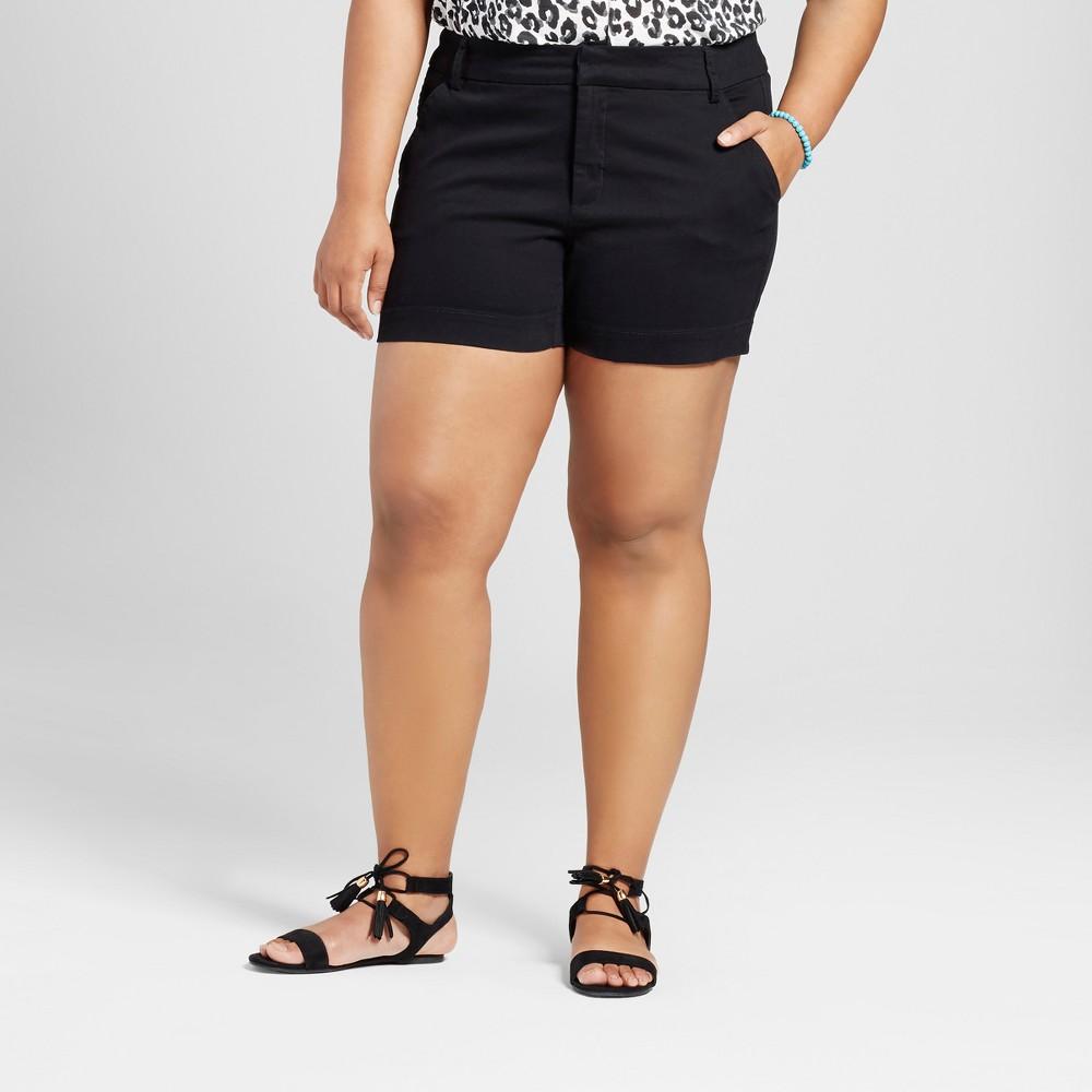 Womens Plus Size 5 Chino Shorts - Ava & Viv Black 26W