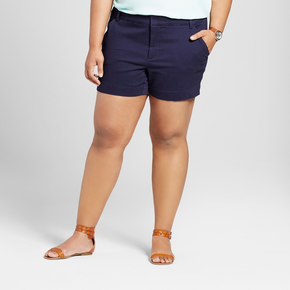 Womens Plus Size 5 Chino Shorts - Ava & Viv Navy (Blue) 16W